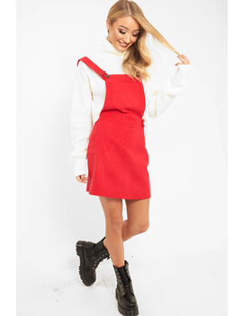 Red Corduroy Pinafore Dungaree Dress   Ayona by Rebellious Fashion