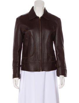 Leather Zip Up Jacket by Bottega Veneta