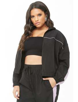 Plus Size Contrast Striped Windbreaker by Forever 21