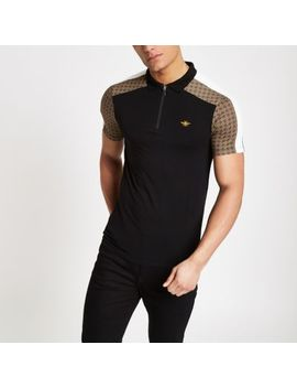Black Geo Print Half Zip Polo Shirt by River Island