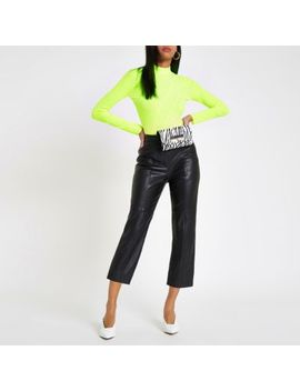 Yellow Fluroscent Ribbed High Neck Top by River Island