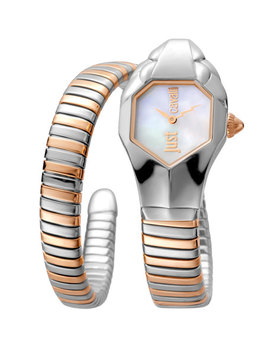 22mm Glam Chic Two Tone Coiled Snake Bracelet Watch, Rose Golden Multi by Just Cavalli