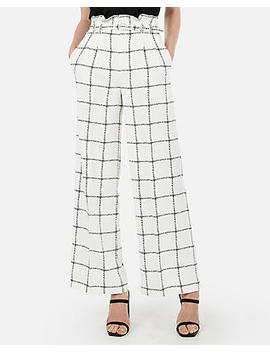 High Waisted Windowpane Print Belted Wide Leg Pant by Express