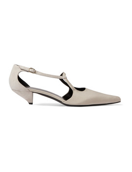 Bourgoise Salome Cutout Silk Faille Pumps by The Row
