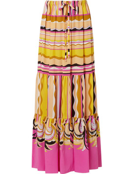 Printed Silk Crepe De Chine Maxi Skirt by Emilio Pucci