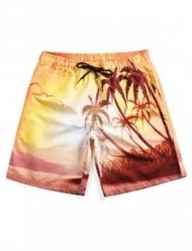 Coconut Print Beach Shorts   Sun Yellow M by Zaful