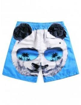 Panda Head Print Beach Shorts   Crystal Blue L by Zaful