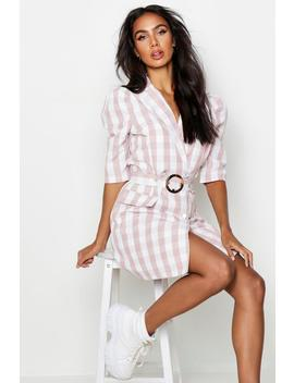 Self Belted Gingham Check Blazer Dress by Boohoo