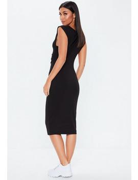 Black Ruched Front Sleeveless Midi Dress by Missguided