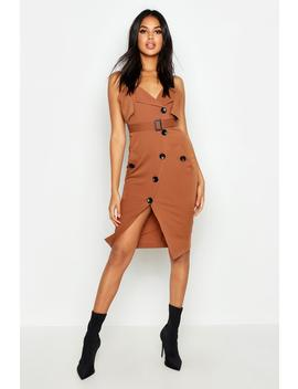 Utility Button Belted Midi Dress by Boohoo