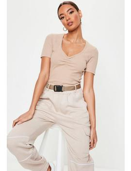 Sand Ruched Front Ribbed Top by Missguided