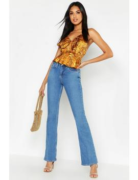 High Rise Flare Jean by Boohoo