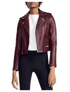 Basilta Cropped Moto Jacket In Burgundy by Bloomingdales