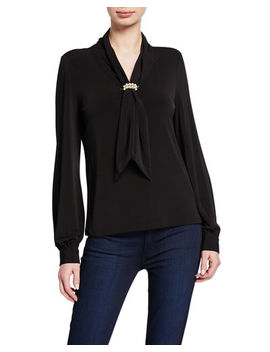 Tie Neck Long Sleeve Knit Top With Pearlescent Cluster by Karl Lagerfeld Paris