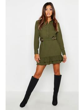Double Buckle Peplum Hem Shirt Dress by Boohoo