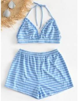 Striped Bralette Top And Shorts Pajama Set   Blue S by Zaful