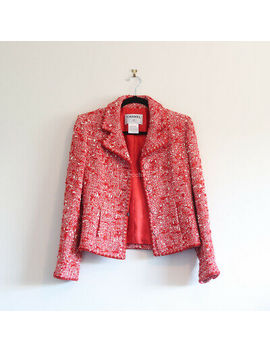 100 Percents Auth Chanel Tweed Jacket Red Blazer Button Cc Logo Buttons White 01 A 38 by Chanel
