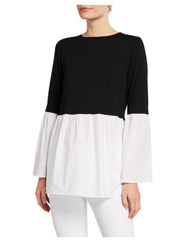 Twofer Sweater & Shirting Bell Sleeve Top by Neiman Marcus