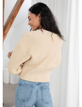 Cropped Textured Cotton Cardigan by & Other Stories