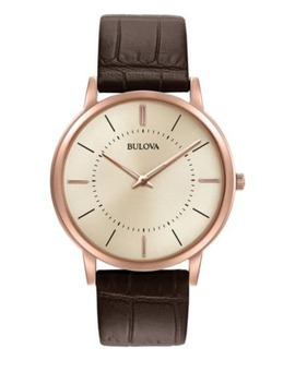 Analog Goldtone Leather Strap Dress Watch by Bulova