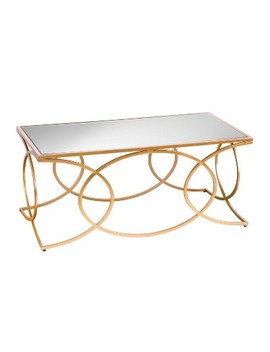 Dashner Geometric Cocktail Table With Mirrored Top Deep Gold   Aiden Lane by Shop This Collection