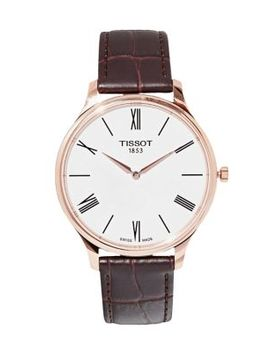 Tradition White Dial Leather Strap Watch by Tissot