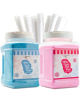 The Candery Cotton Candy Floss Sugar (2 Pack) Includes 100 Premium Cones | Raspberry Blue And Strawberry | Plastic, Reusable Jars | Easy Pour Spout Or Scoop | Includes Scooper | 3 Lbs Jars by The Candery