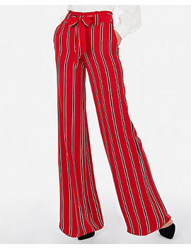 High Waisted Striped Satin Sash Tie Waist Wide Leg Pant by Express