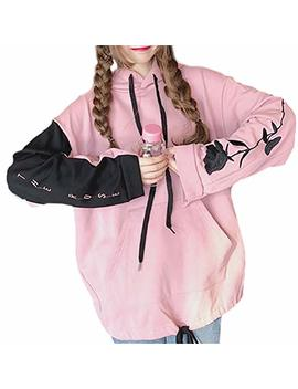 Shanenxn Women's Harajuku Rose Embroidery Loose Long Sleeve Drawstring Hooded Stitching Color Pullover Hoodie Tops by Shanenxn