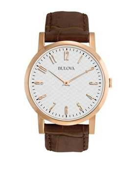 Analog Classic Collection Leather Strap Watch by Bulova