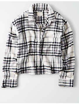 Ae Ahhmazingly Soft Cropped Boxy Button Down Shirt by American Eagle Outfitters