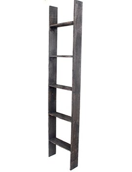 Barnwood Usa Rustic Farmhouse Blanket Ladder   Our 5 Ft Ladder Can Be Mounted Horizontally Or Vertically And Is Crafted From 100 Percents Recycled And Reclaimed Wood | No Assembly Required | Black by Barnwood Usa
