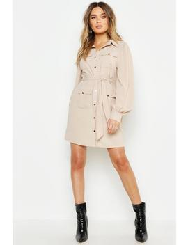 Utility Pocket Detail Shirt Dress by Boohoo