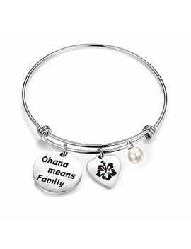 Bobauna Hawaiian Ohana Means Family Hibiscus Charm Bracelet Keychain For Mom Sister Best Friends by Bobauna