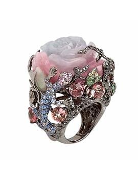 Potato001 Women Peony Flower Lizard Pattern Rhinestone Inlaid Ring Band Party Jewelry by Potato001