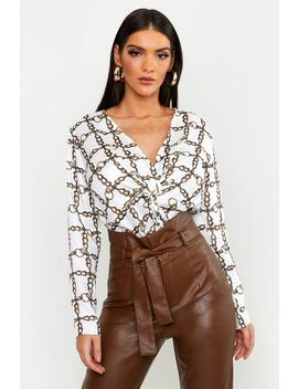 Satin Chain Print Knot Front Blouse by Boohoo