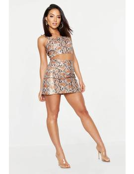 Snake Print Faux Leather Skirt Co Ord by Boohoo