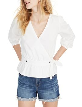 Puff Sleeve Peplum Wrap Top by Madewell