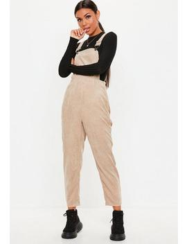 Cord Latzhose In Beige by Missguided