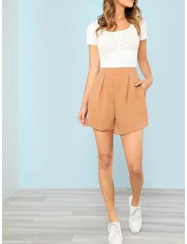 Fold Pleat Detail Tailored Shorts by Shein