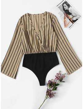 Surplice Neck Bell Sleeve Striped Bodysuit by Shein