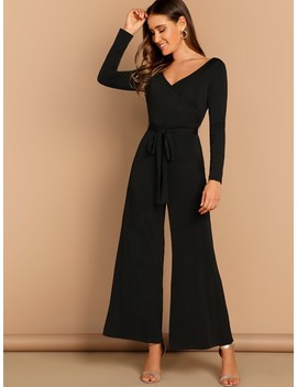 Double V Neckline Surplice Neck Belted Jumpsuit by Shein
