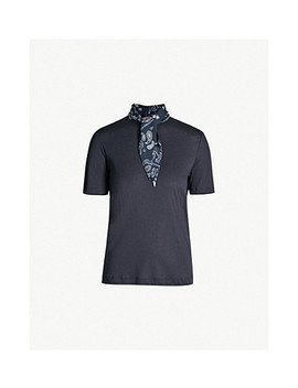 Paisley Neck Tie Cotton Jersey T Shirt by Sandro