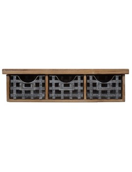 "Gallery Solutions 21.1""X5.7"" Reclaimed Wood Wall Organizer With 3 Metal Basket Bins Brown by Gallery Solutions"