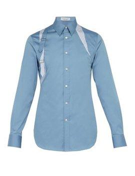 Stripe Panel Cotton Poplin Harness Shirt by Alexander Mc Queen