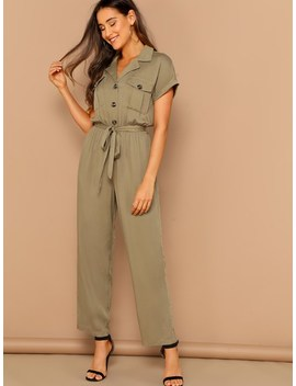 Safari Button Up Cuffed Sleeve Belted Utility Jumpsuit by Sheinside