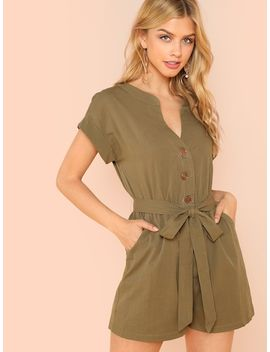 Button Front Roll Up Sleeve Jumpsuit by Shein