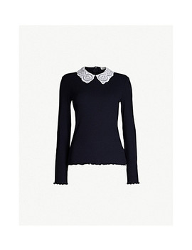 Capucines Lace Collar Jersey T Shirt by Sandro