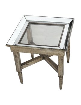 A&B Home Jordan Mirrored Side Table, Wood And Glass by A&B Home