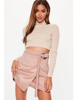 Pink Faux Suede O Ring Detail Mini Skirt by Missguided